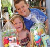 Children with care baskets